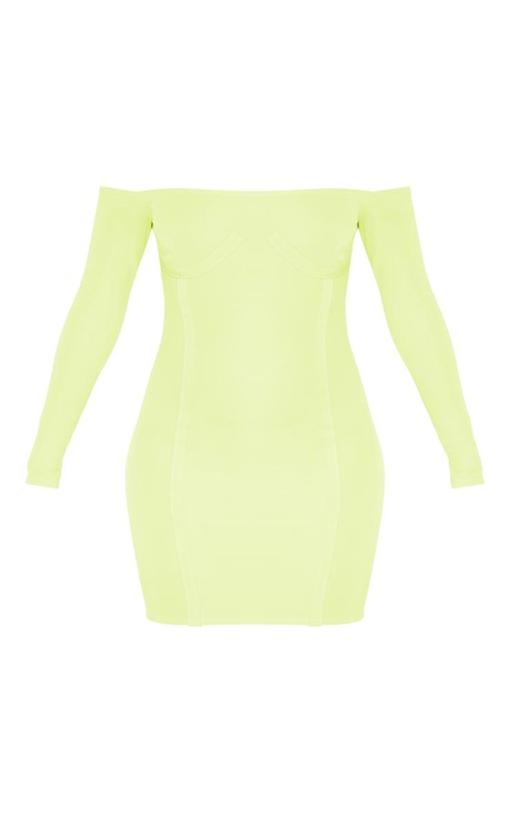 Lime Bandage Bardot Cup Detail Bodycon Dress 3