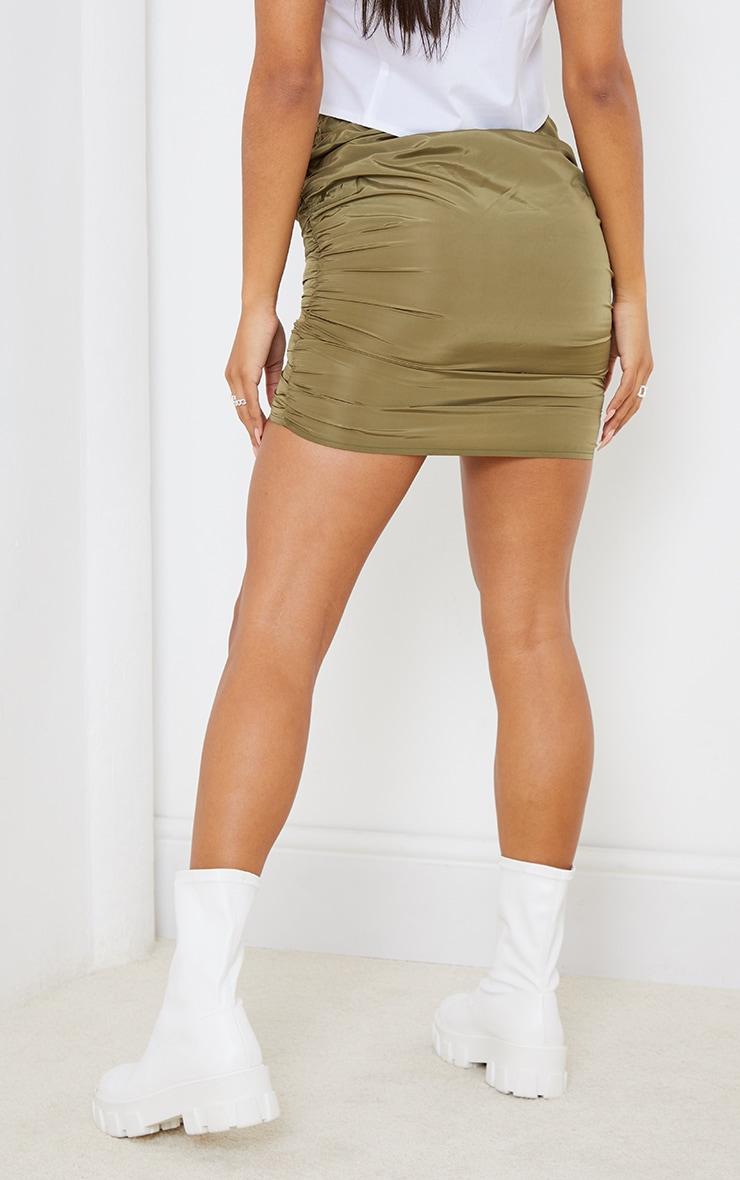 Khaki Shell Toggle Ruched Front Mini Skirt 3