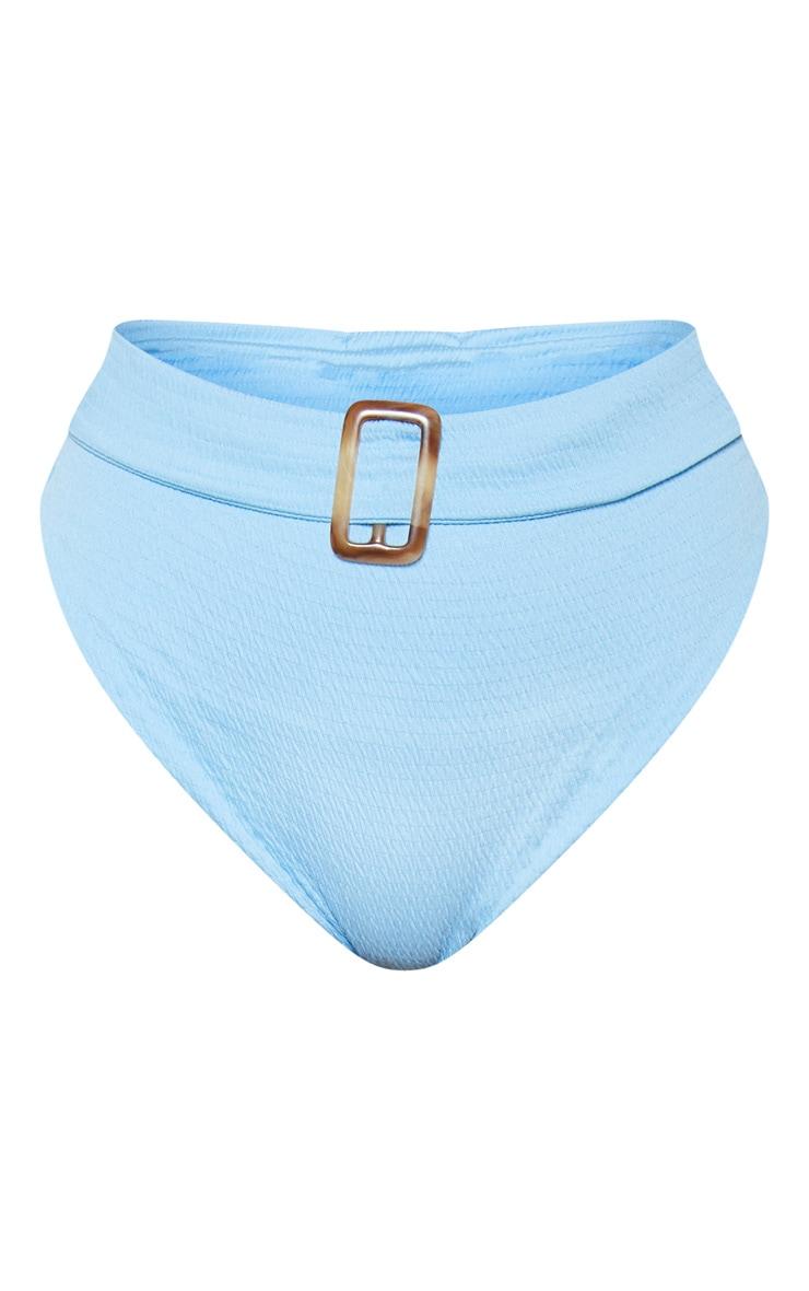Light Blue Crinkle Belt Waist Bikini Bottom 3