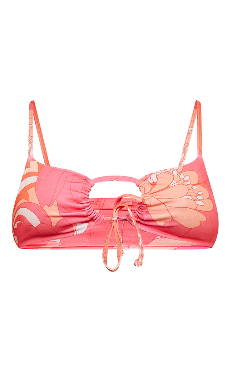 Pink Floral Ruched Bikini Top 6