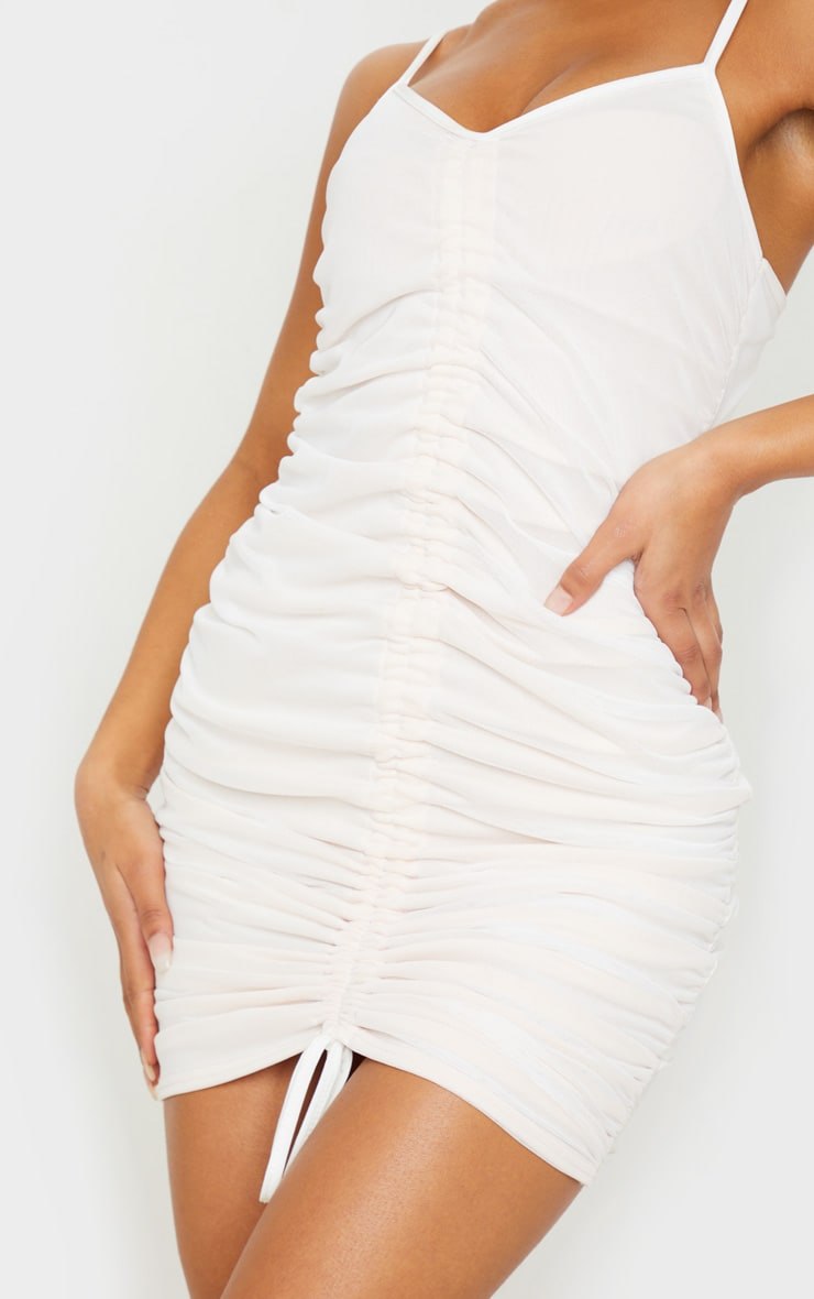 White Mesh Ruched Bodycon Dress 5