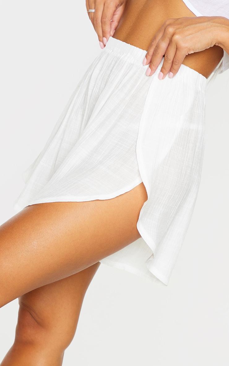 White Linen Look Side Split Beach Shorts 5