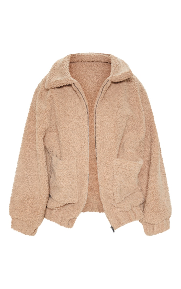 Camel Oversized Borg Pocket Front Coat  3