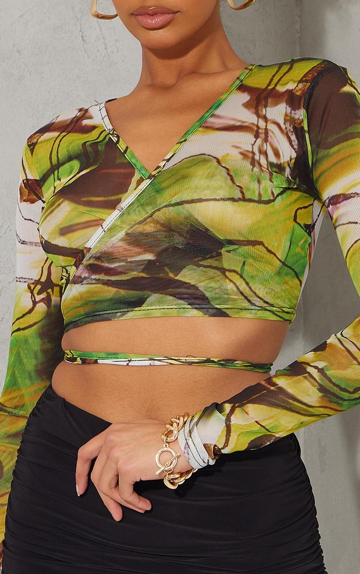 Lime Abstract Printed Mesh Tie Detail Long Sleeve Crop Top 4