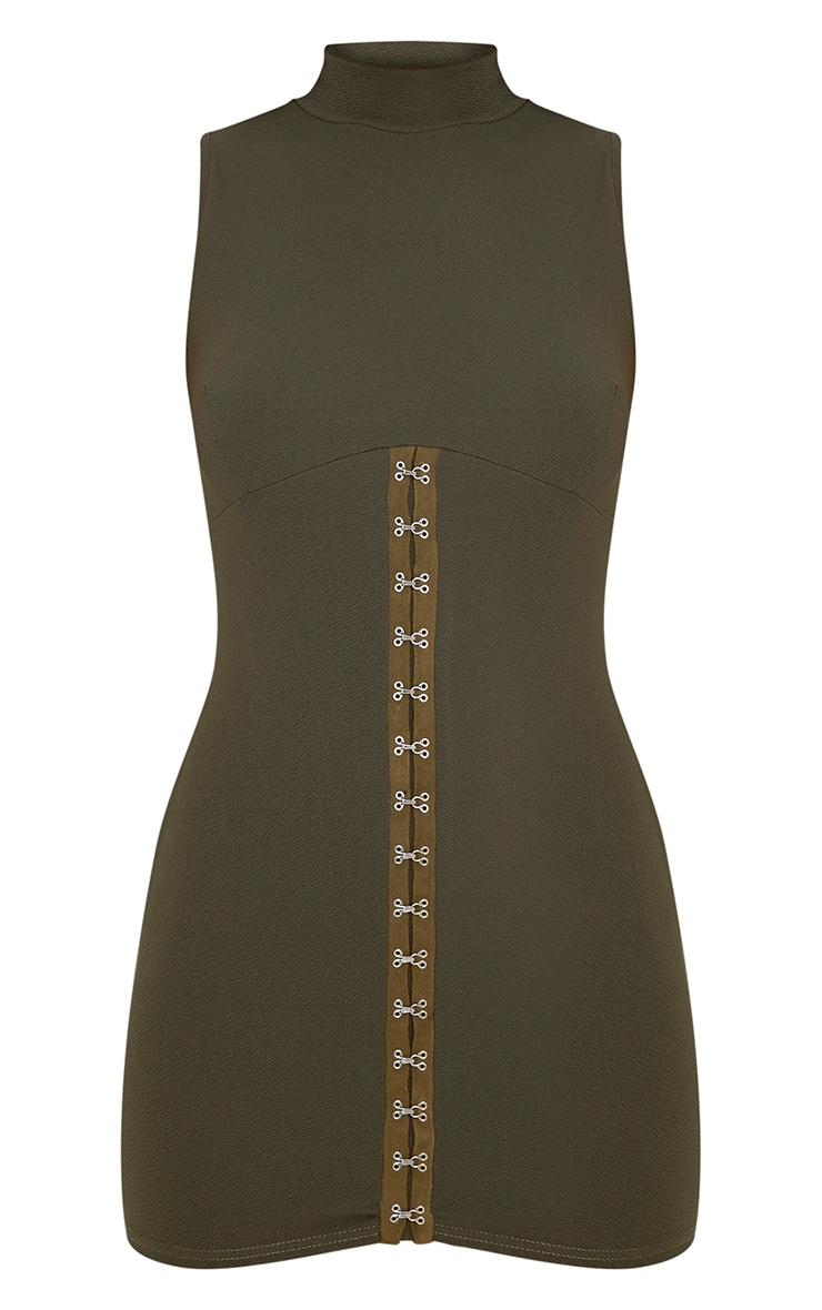 Mariana Khaki Eyelet Detail Bodycon Dress 3