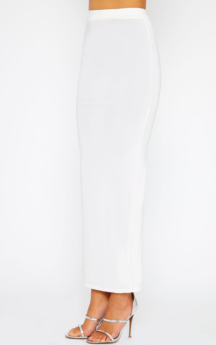 Maizie Cream Slinky Split Maxi Skirt 3