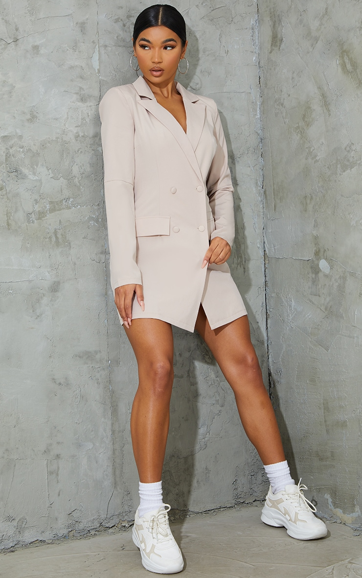 Stone Shoulder Pad Button Blazer Dress 1