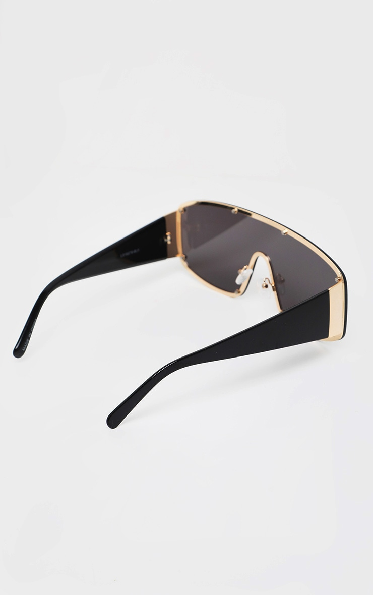 Black With Gold Stud Square Frame Sunglasses 3