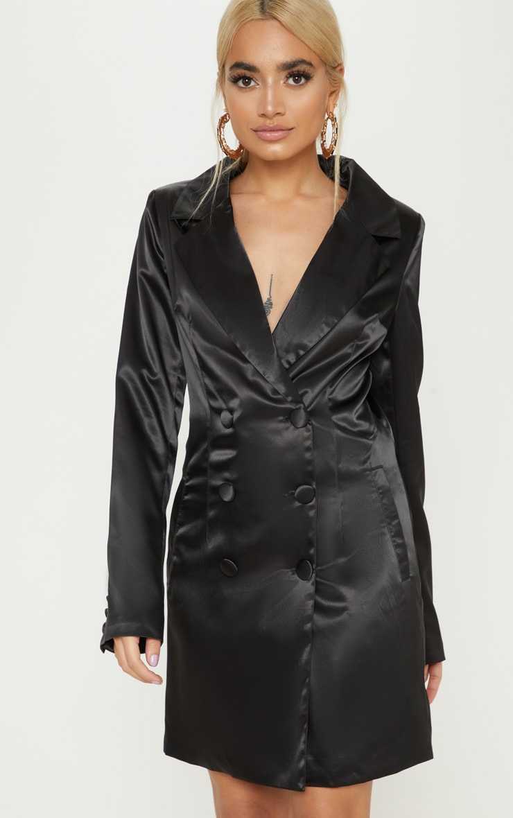 Petite Black Satin Button Detail Blazer Dress 4