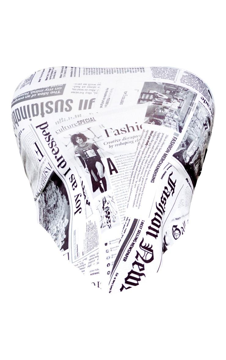 Mono Newspaper Printed Bandeau Handkerchief Crop Top 3