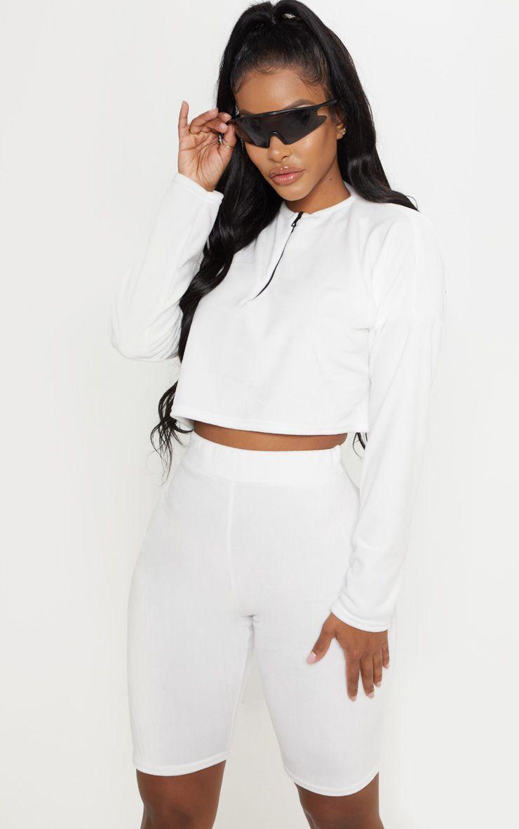 Shape - Short-legging en velours doux crème 1