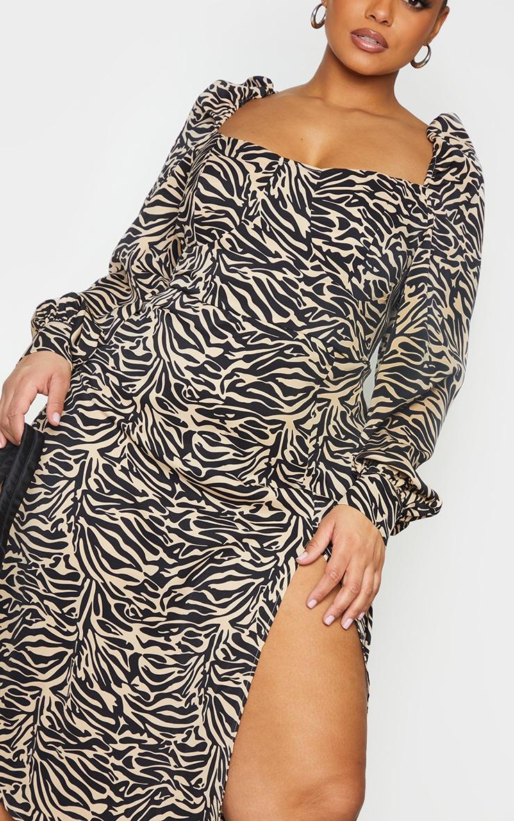Plus Beige Tiger Puff Sleeve Midi Dress 4
