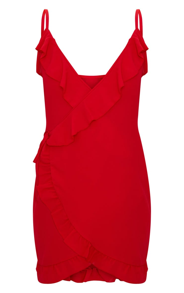 Red Frill Detail Strappy Wrap Dress 3