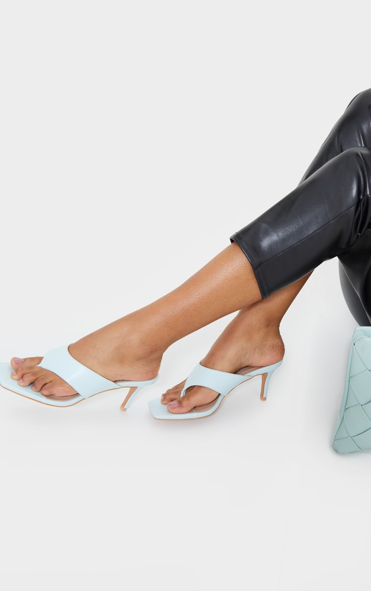 Blue Square Toe Thong Mule Heels 2