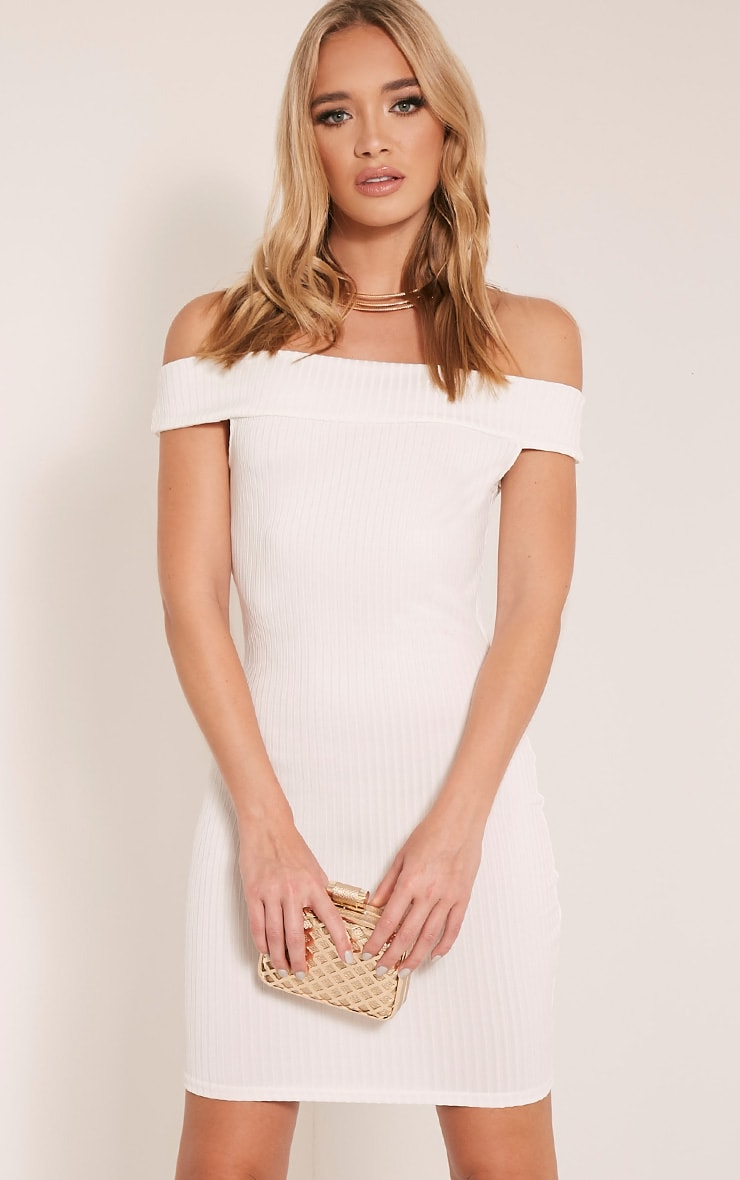 Rylah White Bardot Ribbed Bodycon Dress 1