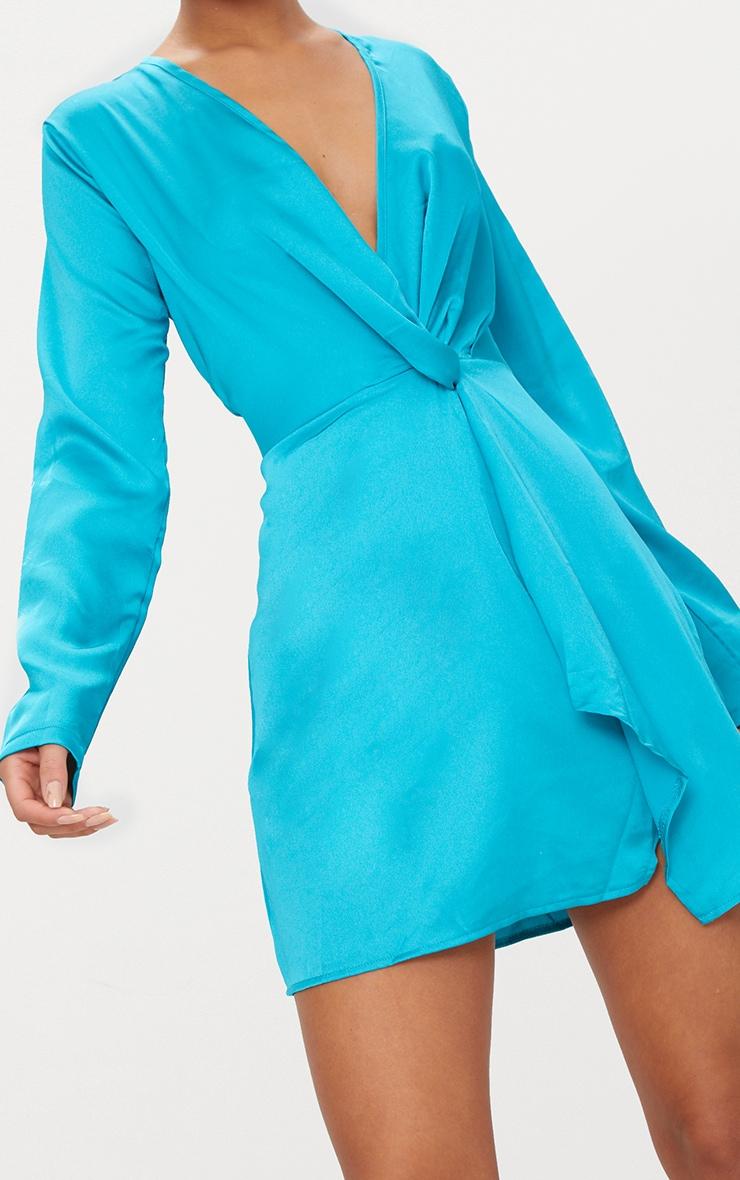 Teal Satin Long Sleeve Wrap Dress Dresses