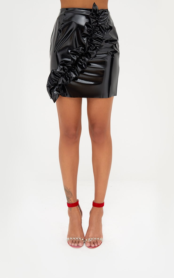 Black Oversized Ruffle Vinyl Mini Skirt 2