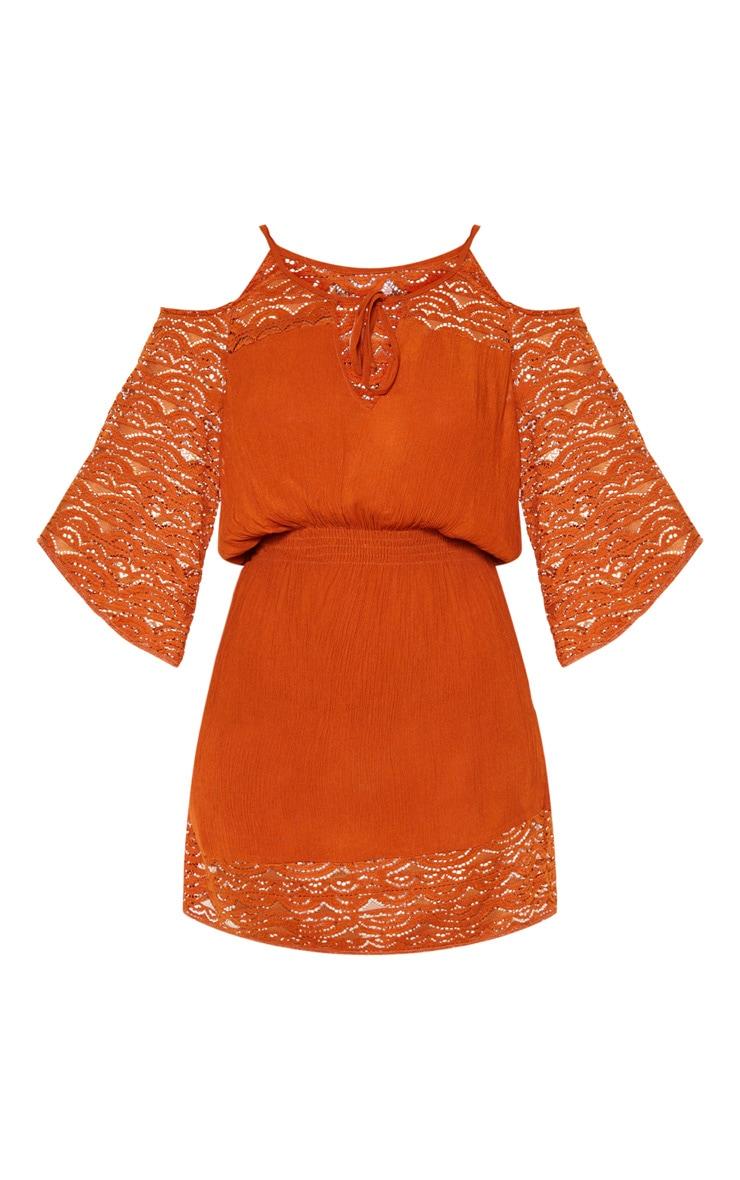Tan Crochet Trim Cold Shoulder Beach Dress 3