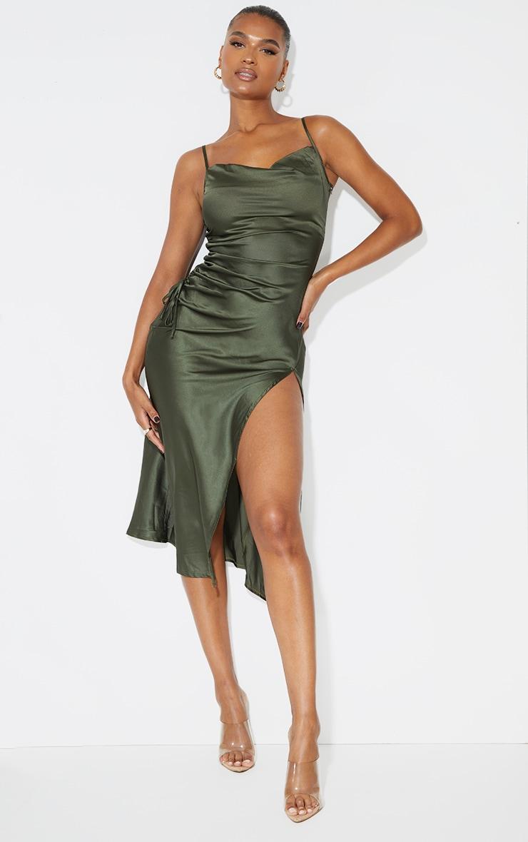 Khaki Strappy Satin Gathered Side Split Hem Midi Dress 1
