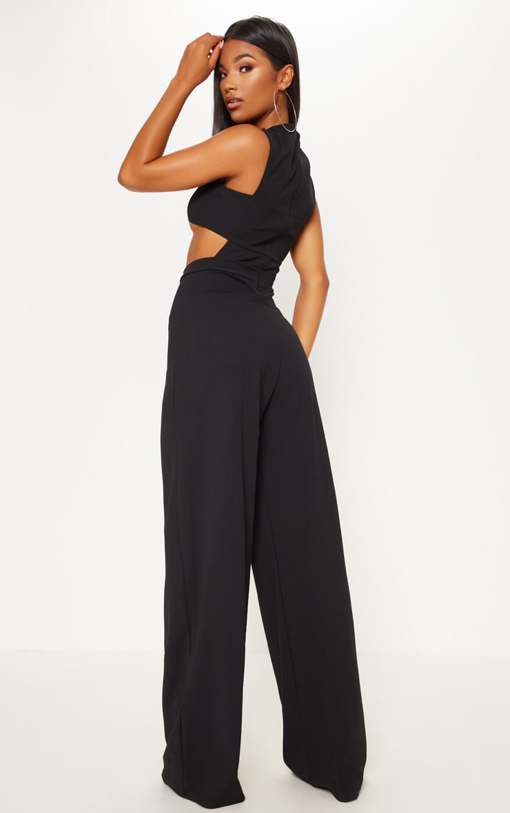 Black Crepe Cut Out Jumpsuit 2