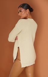 Stone Round Neck Side Split Sweater 2