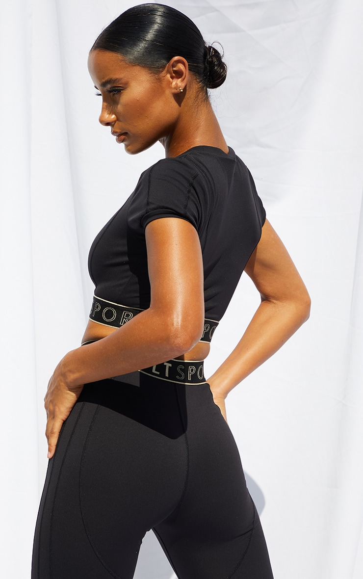 PRETTYLITTLETHING Black Sculpt Luxe Cropped Short Sleeve Gym Top 2