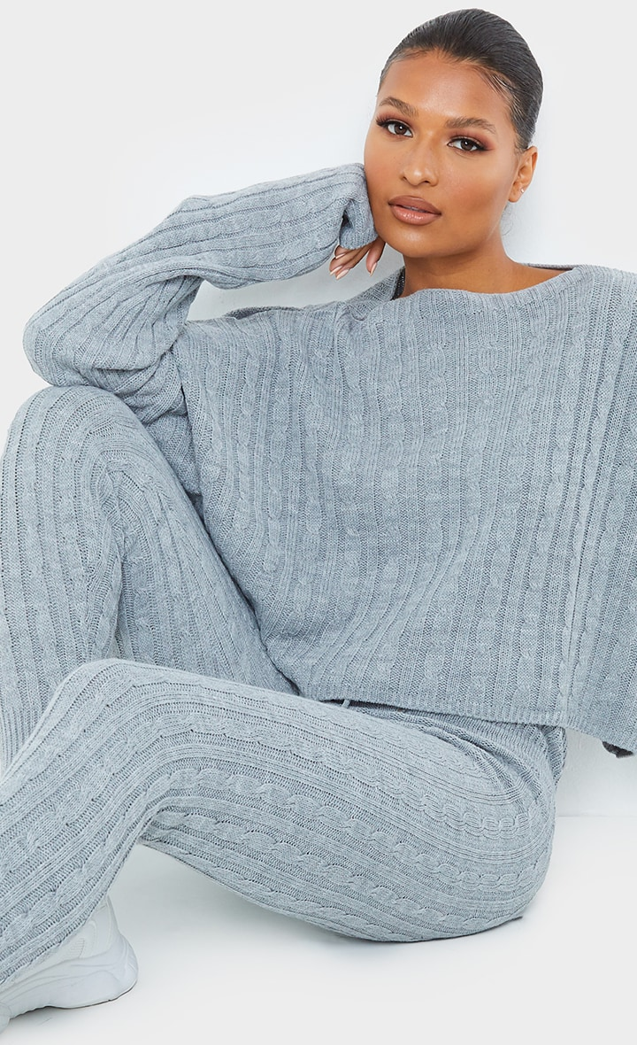 Grey Cable Knit Crop Jumper & Legging Set 4