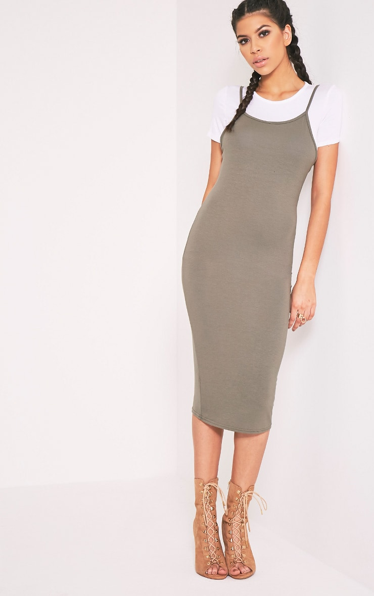 2 Pack Basic Khaki T Shirt and Midi Dress 4