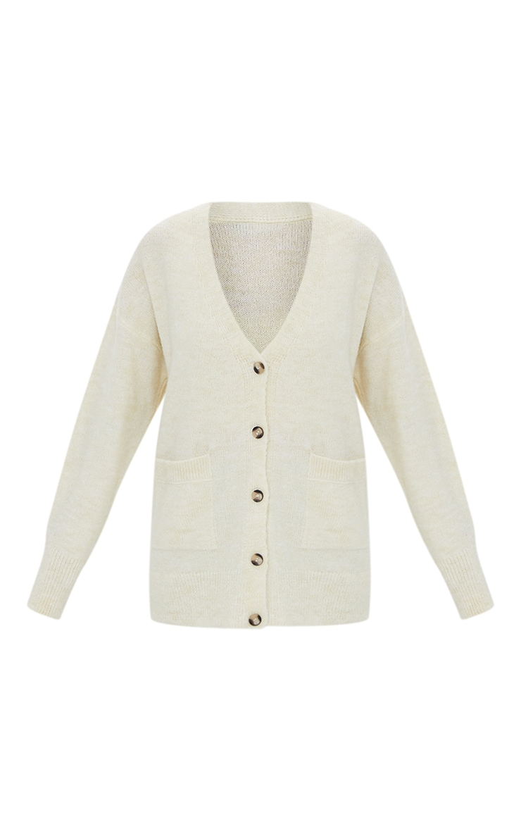 Cream Cosy Knitted Slouchy Button Down Cardigan 5