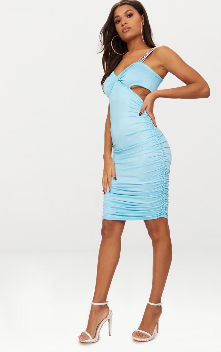 PRETTYLITTLETHING Sky Blue Twist Ruched Midi Dress 5