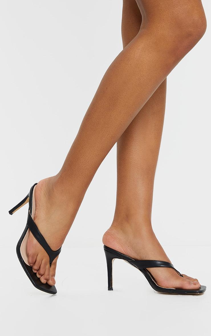 Black Toe Thong Mule Heel 2