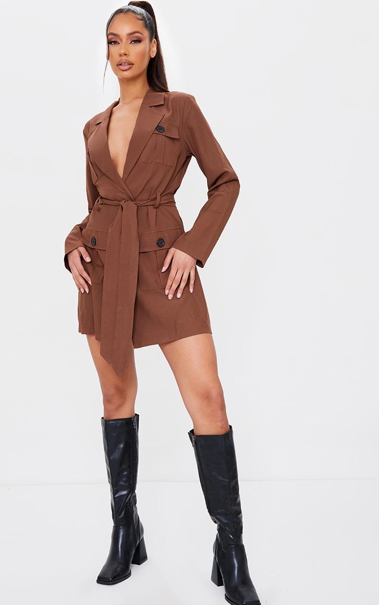 Chocolate Utility Style Tie Waist Blazer Dress 3