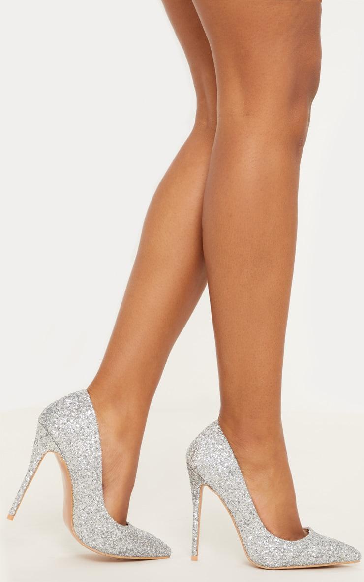 Silver Glitter Court Shoe