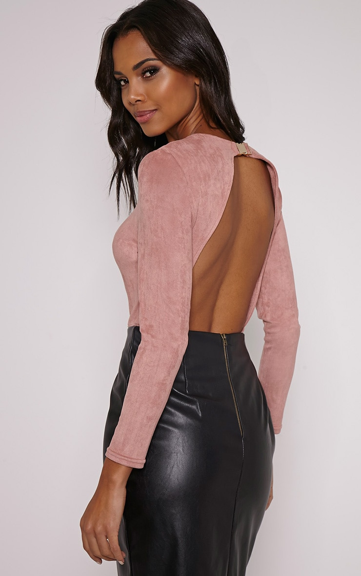 Rayna Rose Faux Suede Backless Buckle Bodysuit 1