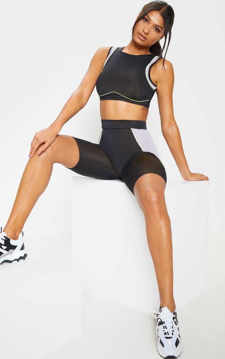 Black Underbust Detail Gym Crop Top 1