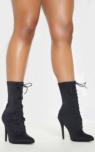 Black Wide Fit Lace Up Sock Boot