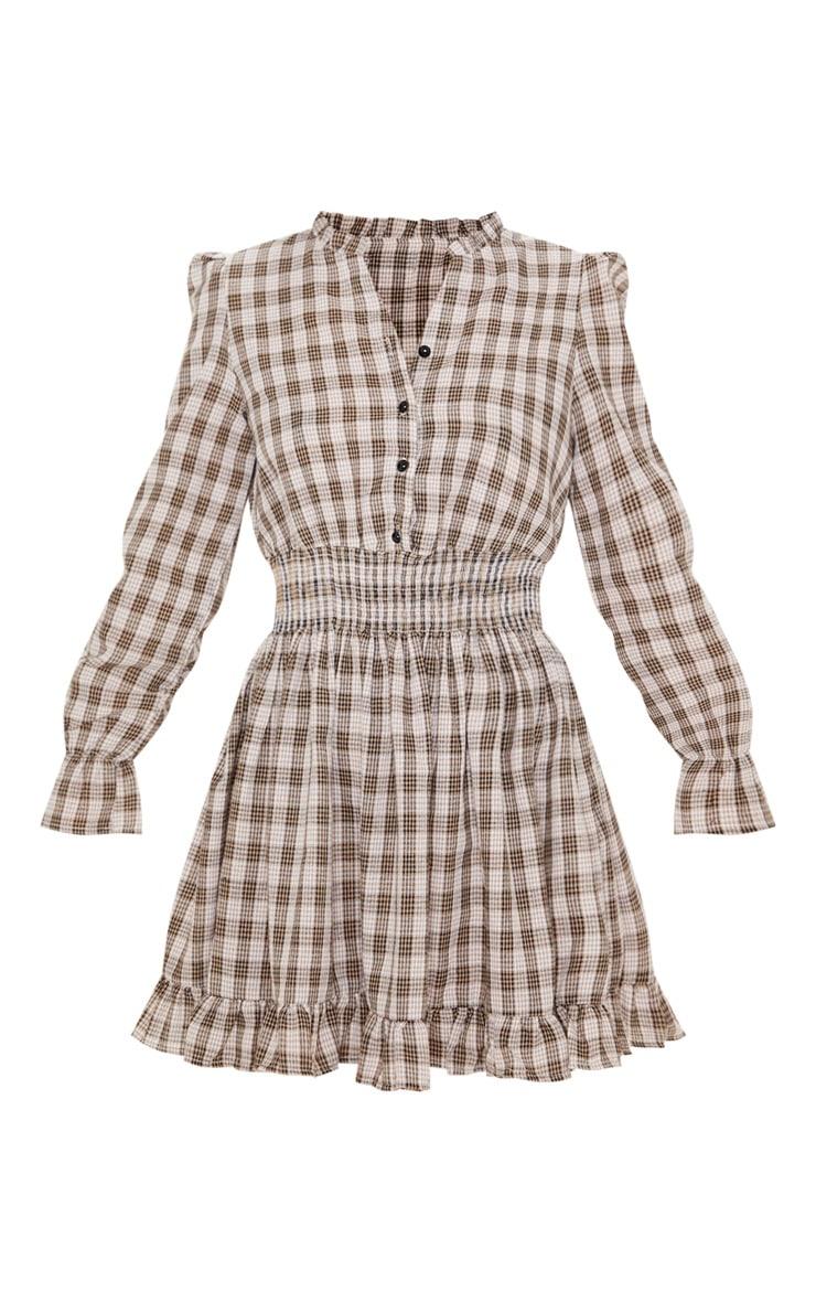 Beige Check Print Shirred Waist Shirt Dress 3