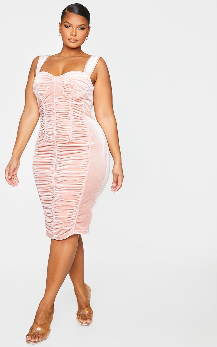 Plus Dusty Pink Velvet Ruched Detail Midi Dress 1