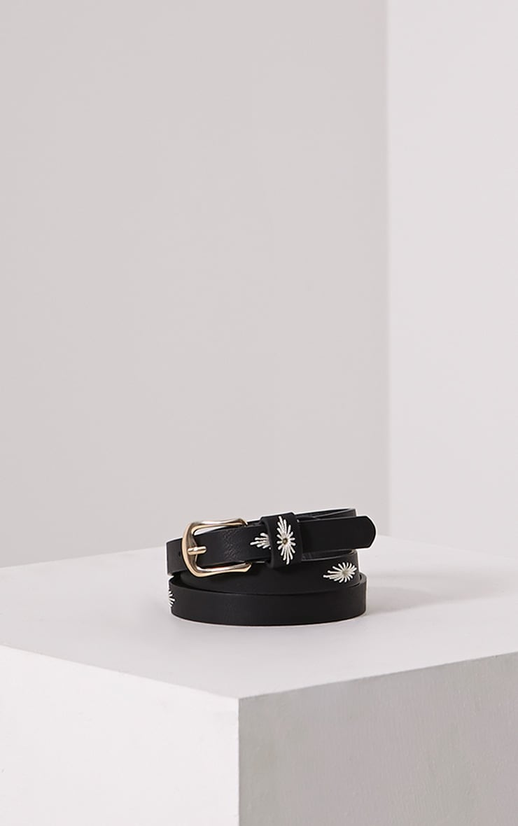 Nathalie Black Embroidered Skinny Belt 1