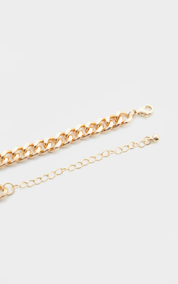 Gold Snaffle Trim Short Chain Necklace 4