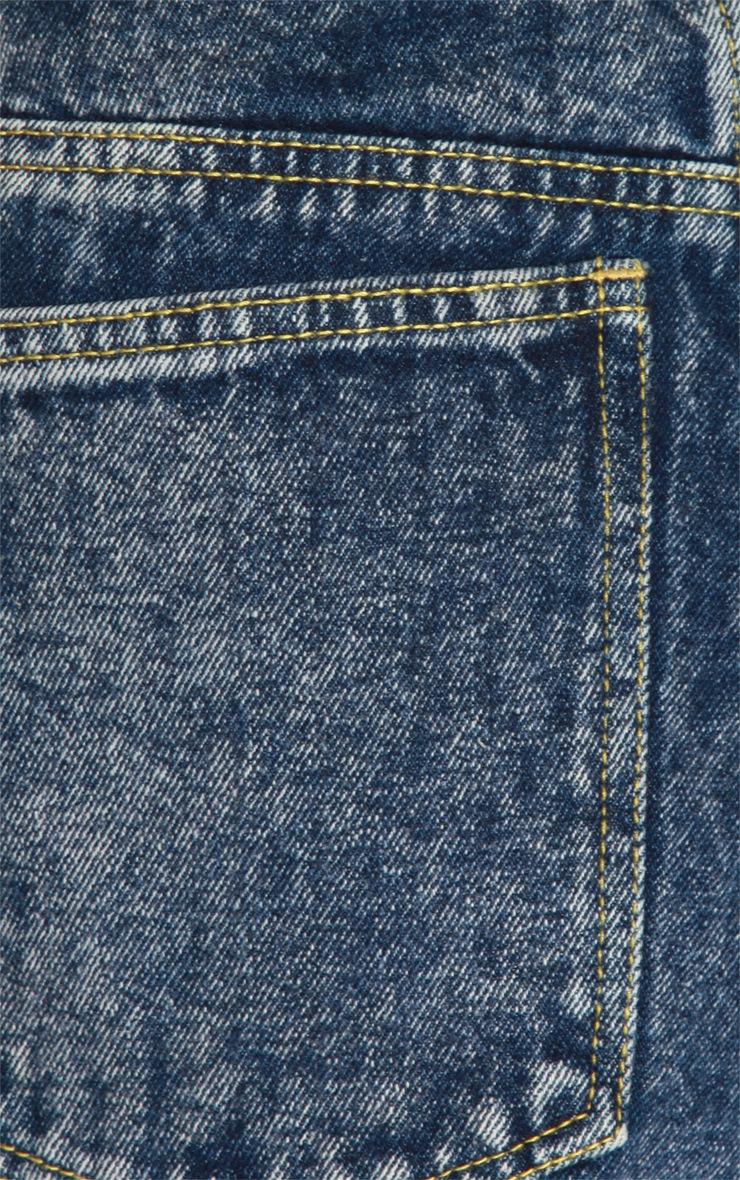 Farren Dark Blue Acid Wash Shorts 4