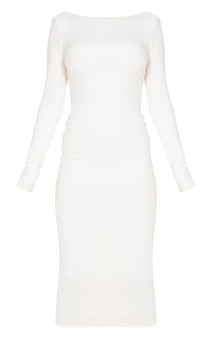Recycled Cream Contour Jersey Long Sleeve Thumb Hole Scoop Back Midaxi Dress 5