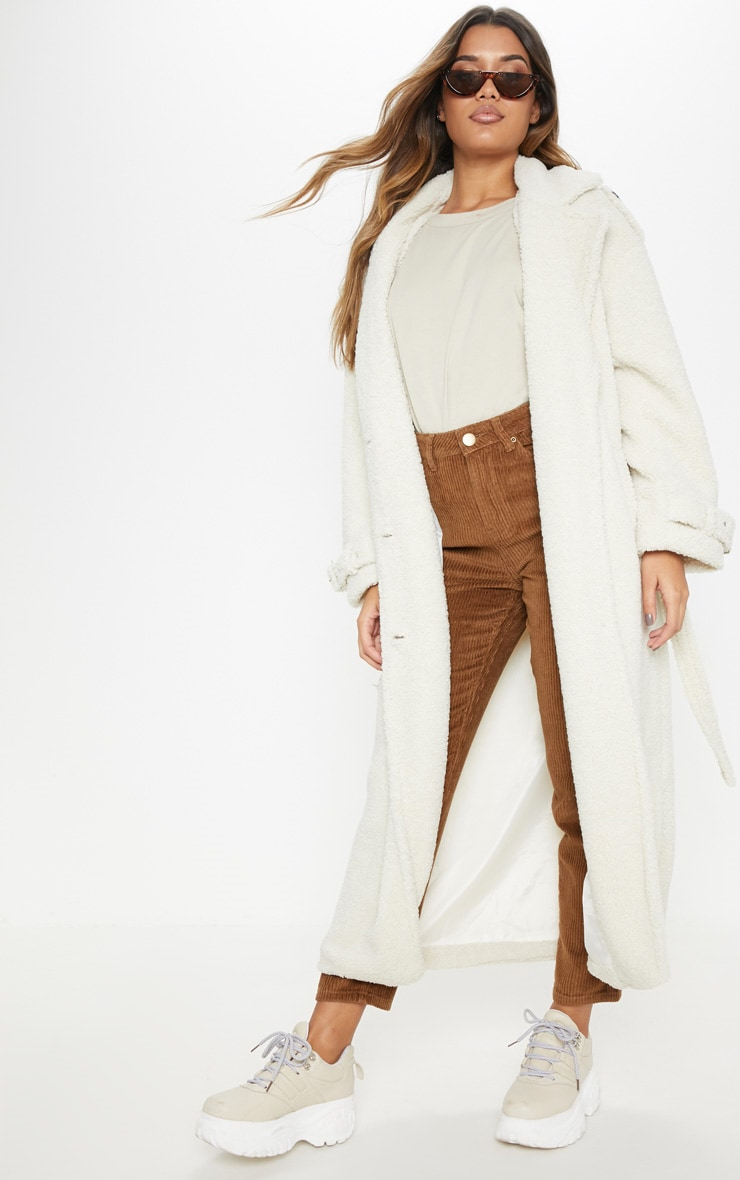 Cream Borg Oversized Belted Coat 1