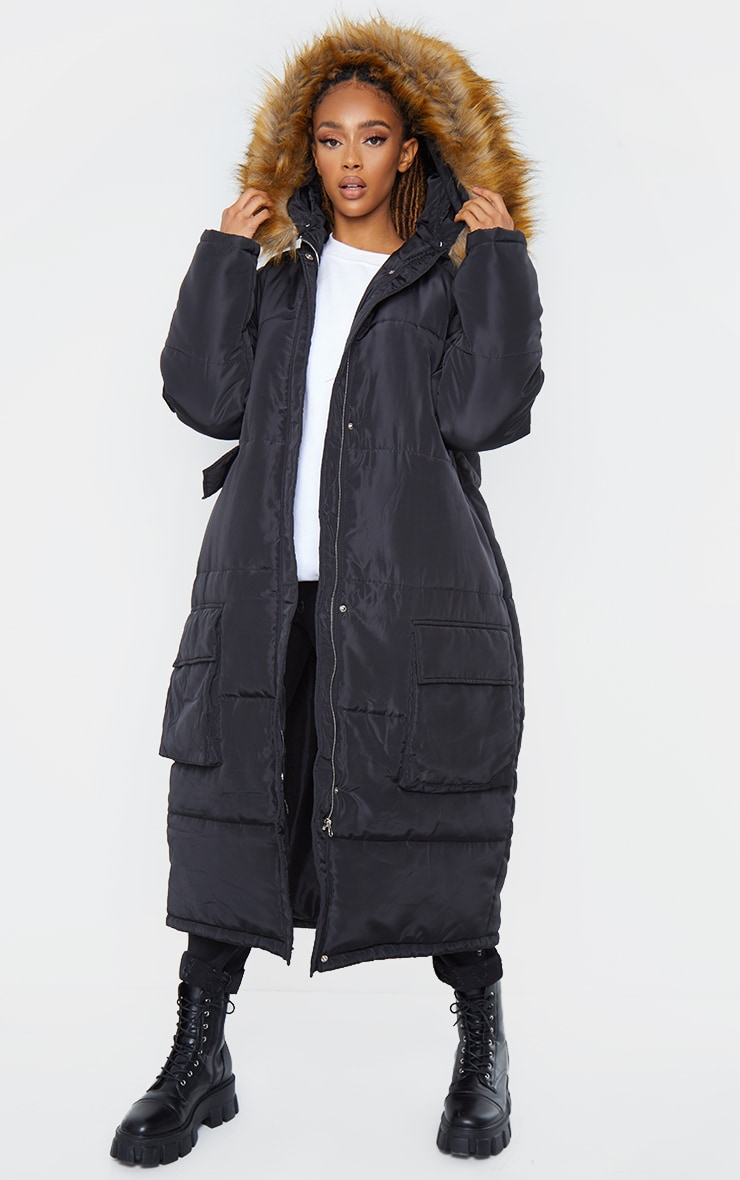 PRETTYLITTLETHING Black Maxi Hooded Parka Jacket 3