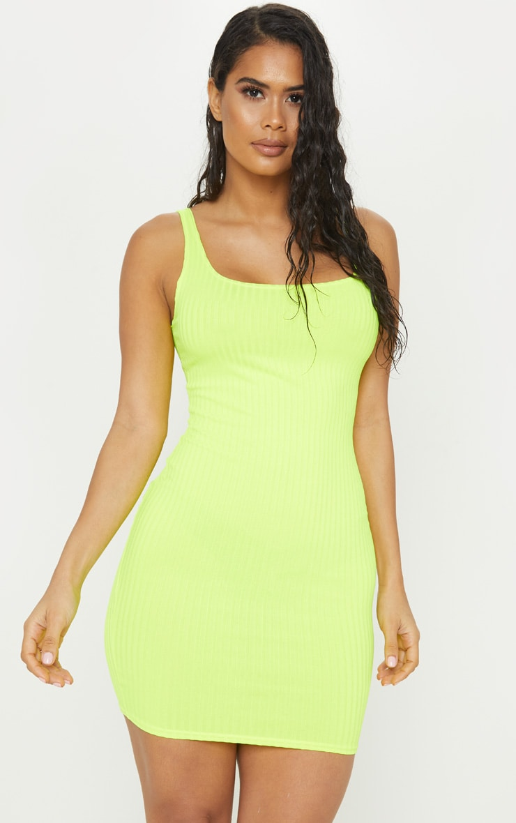 d9eba46691 Neon Yellow Ribbed Square Neck Dress | PrettyLittleThing