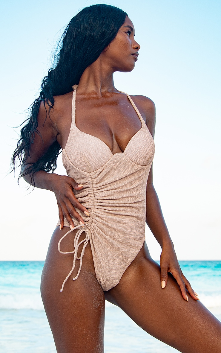 Gold Glitter Ruched Drawstring Cupped Swimsuit 1