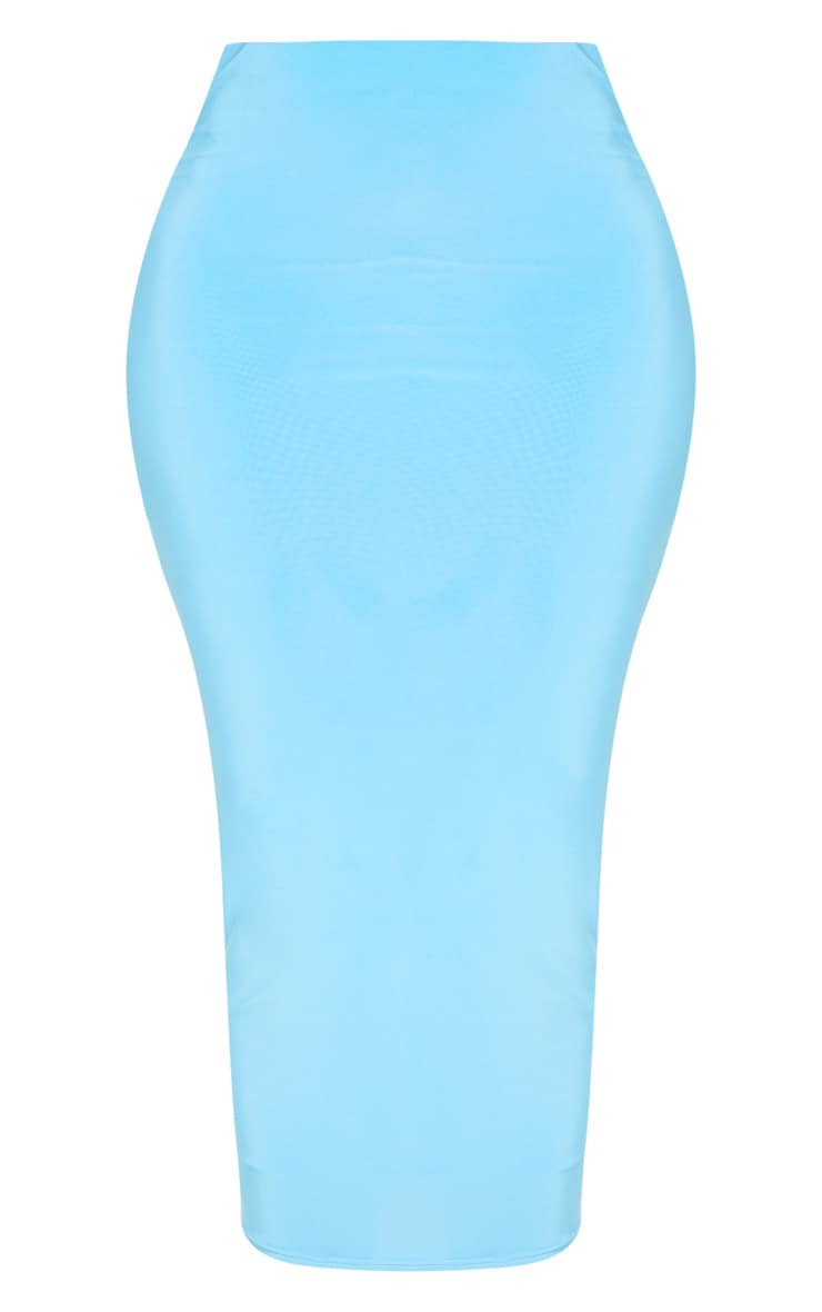 Aqua Second Skin Slinky Longline Midi Skirt 3