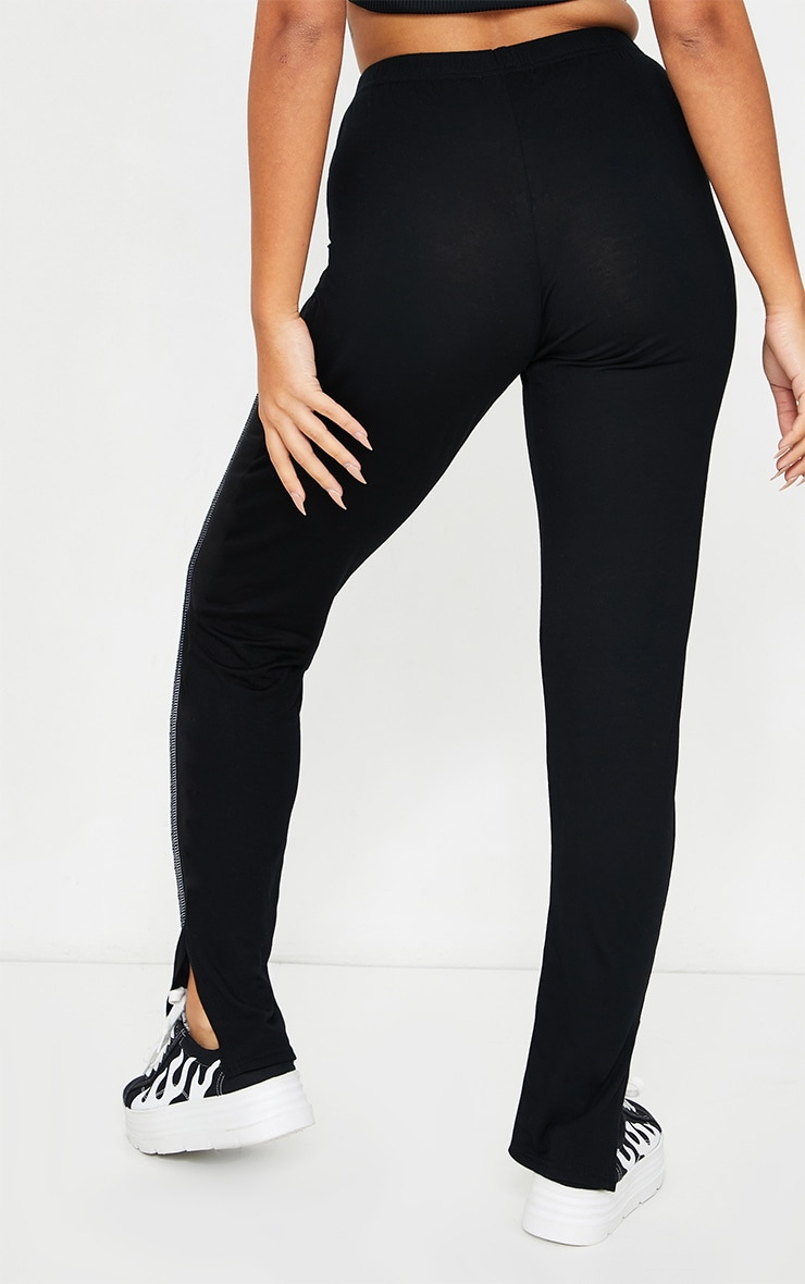 Petite Black Contrast Seam Jersey Split Hem Leggings 3