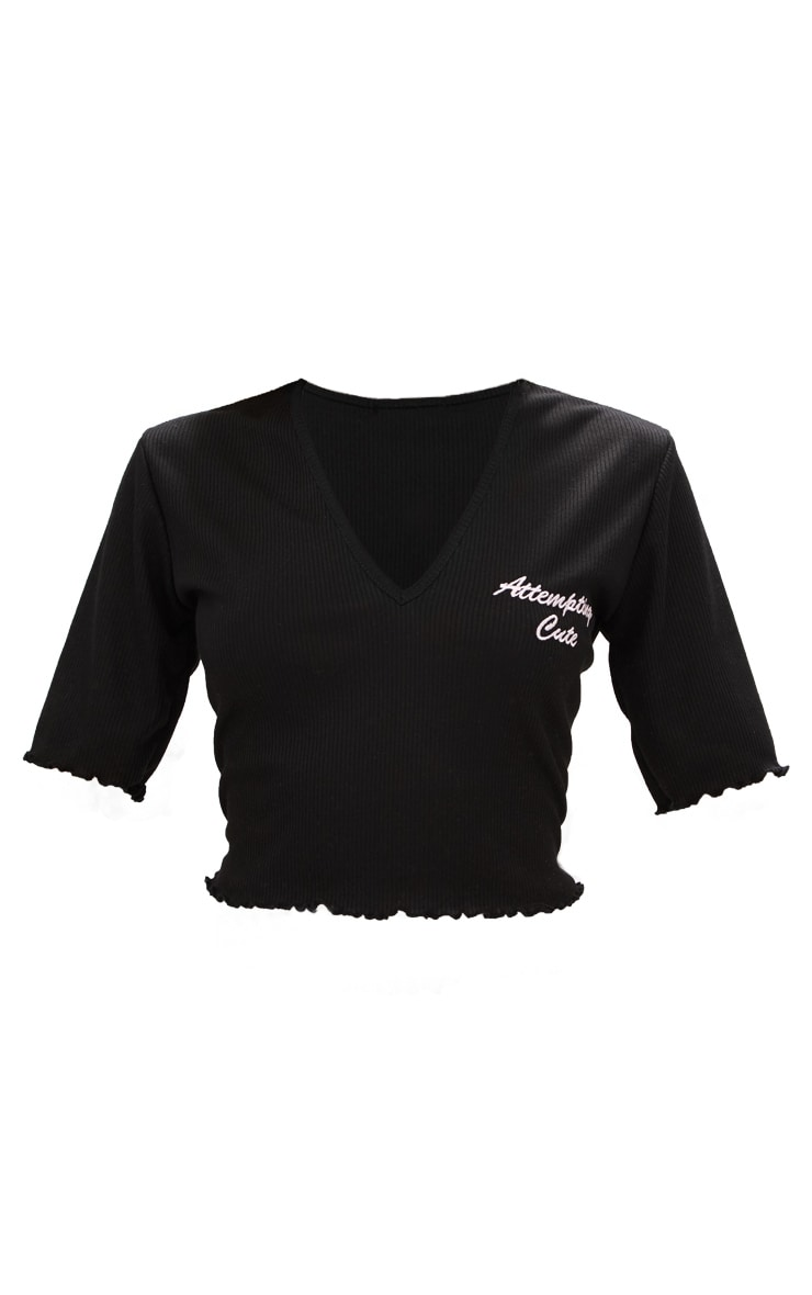 Black Cute Embroidered Slogan Rib Crop Top 3