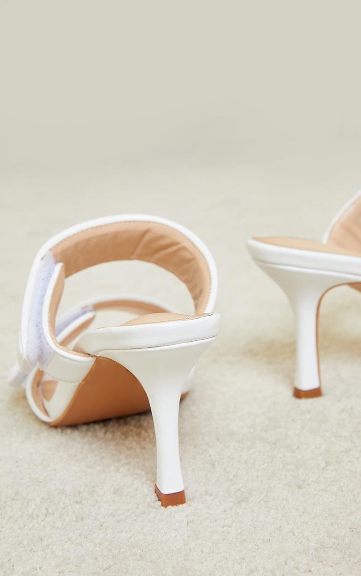 White Velcro Twin Strap Mule Heels 4